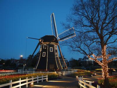 パレスハウステンボス夕暮れの風車