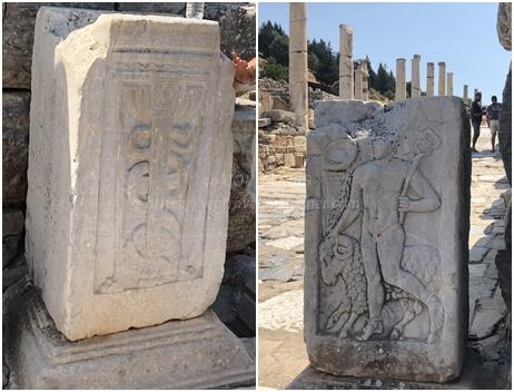 エフェソス遺跡-エルメス&杖と蛇のレリーフ