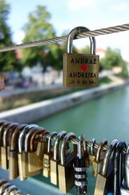 リュブリャナの橋の上
